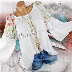 Boho Bell Sleeve Floral Blouse